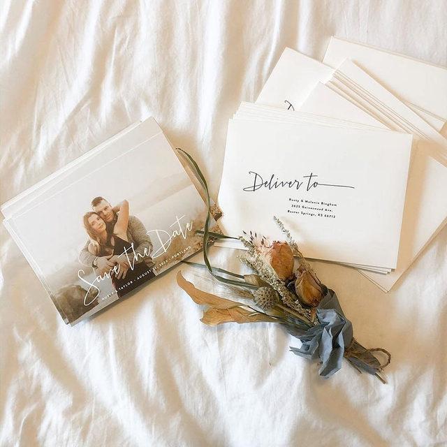 "And the countdown begins...#MintedWeddings  __ Photo: @taylorbingham ""Stylish Script"" save the date design by @hooraycreative . . . #engaged #weddingideas #weddinginspiration #weddingdetails #weddingphotography #weddingplanning #weddingflatlay #justengaged  #sayido #howtheyasked #marthaweddings #weddingseason #engagementseason #weddingplanner #weddinginvites #savethedate"