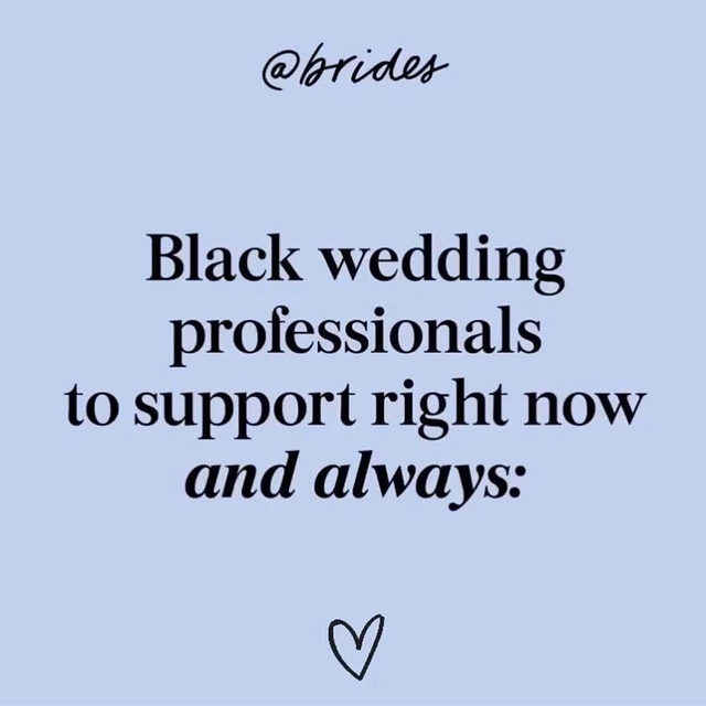 Our team recognizes that we have a lot of work to do when it comes to making Brides a more diverse brand. We're currently planning actionable long-term commitments that will help hold us accountable moving forward and that we will share with you all soon.  To start, we've compiled a list of 100+ black wedding professionals whose talented work should have been shared a long time ago. We will continuously update this list and encourage you to follow, collaborate with and support these vendors always. Head to the #linkinbio for the full list and join us in spreading the love by tagging more black wedding vendors below!  Work pictured here by: @photosbyreem // @matolikeelyphoto // @chichiarilove // @elizabethaustinphoto // @porterhouselaweddings // @pharrisphotos // @allieandjohnphoto // @amyanaizphoto // @bedgepictures // @markingrambride, @falloncarterevents // @pantorabridal, @saciamatthews // @officialcocktailsdetails // @erikalaynephoto // @teshornjackson // @rheawhitney // @illybeauty // @brooklynbloomsnyc