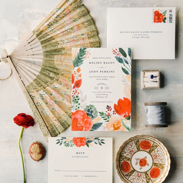 """We love the classic antique elements that were woven into this design. The hand-painted stationary florals are complemented by beautiful pops of red and muted gold tones.  __ """"Flourishing"""" wedding invitation, and RSVP card  @bethschneiderdesigns Photo: @jensphotodiary via @abbygardenfloral   Styling: @loblollyfarm"""