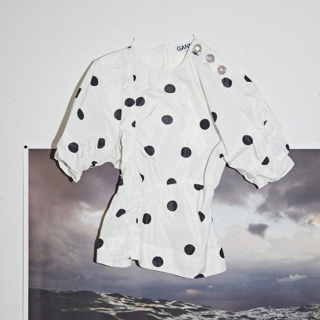 New season polka dot blouse made from recycled polyester 💙 + Read more on our journey to switching to certified responsible materials at #GANNILab + #ganni