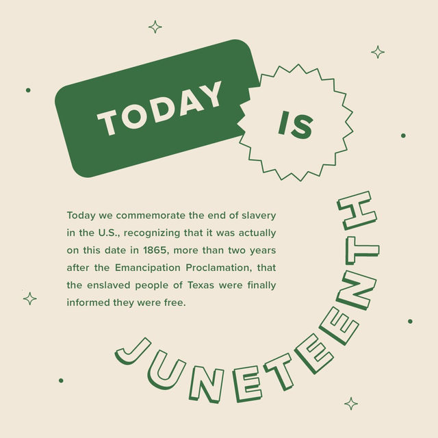 Today we commemorate the end of slavery in the U.S., recognizing that it was actually on this date in 1865, more than two years after the Emancipation Proclamation, that the enslaved people of Texas were finally informed they were free. Juneteenth is an important date to acknowledge. Today, and always, we're urging you to support Black makers and Black-owned businesses. We recommend starting with @juneteenthshopblack. And visit the link in our bio for info on Black-owned Etsy shops.