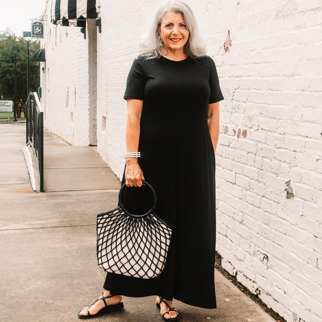 @silver_isthenewblonde shows us how to elevate an effortless maxi dress. Tap to shop our Fine Tencel Jersey Crew Neck Maxi Dress.