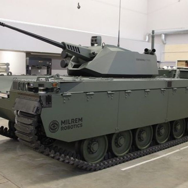This robot tank from Milrem Robotics is a glimpse at the future of armored warfare. The Type X drone is equipped with either an 25 or 30-millimeter auto cannon or anti-tank missles. 🔗Link in bio for more. (Photo credit: Milrem)