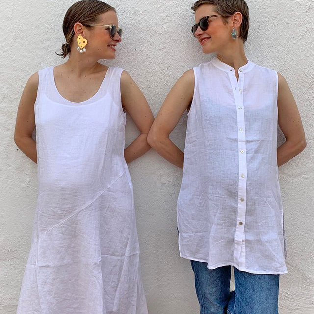"""How beautiful to start the journey of motherhood with your twin sister: Lizzie and Kathryn Fortunato, twin sisters and founders of @lfjewels, styled some EF with their bumps recently. Their favorite part? """"We're very into maternity clothes that aren't actually maternity clothes."""" Tap to shop their looks, pieces that can take you pregnancy and beyond."""