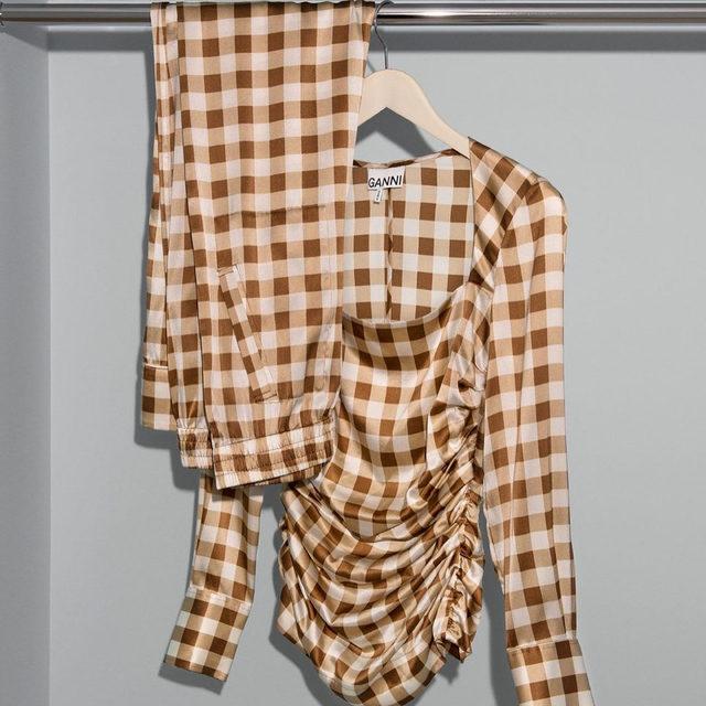 🍨 New in matching toffee silk stretch satin set  #GANNI