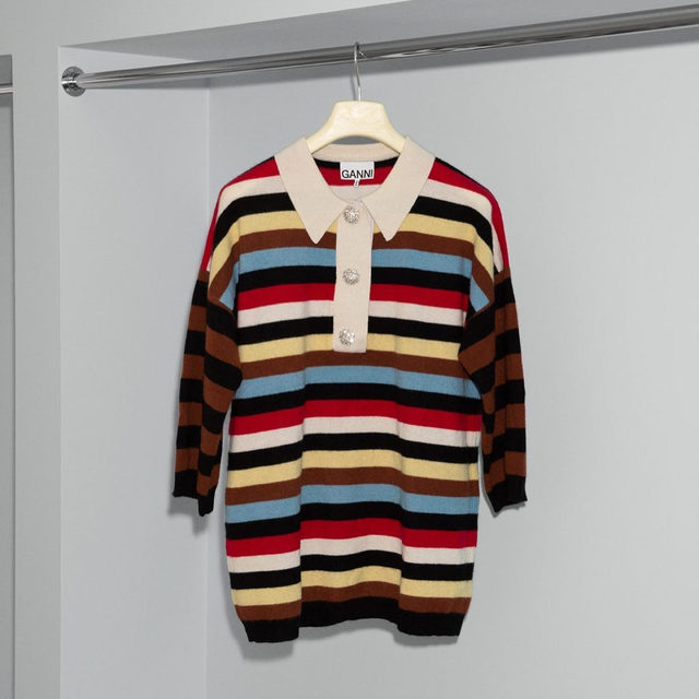 Stripe it right in our embellished cashmere knit t-shirt ❤️🤍🖤💛🤎💙 #GANNI