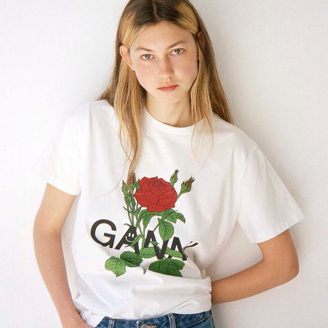 🌹🌹🌹🌹🌹 @astafjeld wears our limited edition rose print tee made from 100% certified organic cotton  #GANNI