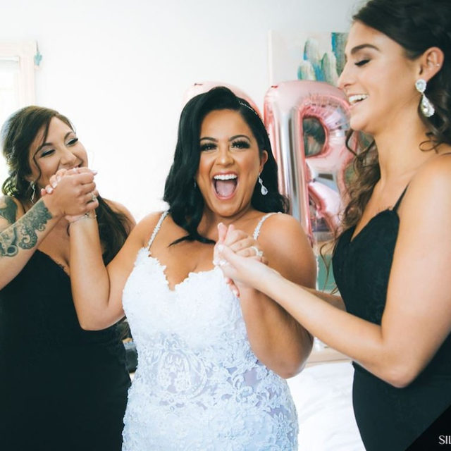 """Monday Mood because we officially uploaded all of our July trunk shows to our website! 🤩 Click the link in our bio to see our upcoming trunk shows at all three of our salons in the month of July! ❤️ You can also click our """"Trunk Show"""" story highlight 😘 ⠀⠀⠀⠀⠀⠀⠀⠀ ・・・ ⠀⠀⠀⠀⠀⠀⠀⠀ 👰 #BridalReflectionsBride @ninadimauro_ 👗 @eveofmilady from Bridal Reflections 💄 @glambygee_ 💇♀️ @themanewave 👰 #veil & headpiece from @boutiquedevoile from Bridal Reflections 🏰 @chateaubriandcaterers 📸 @silverfoxweddings"""