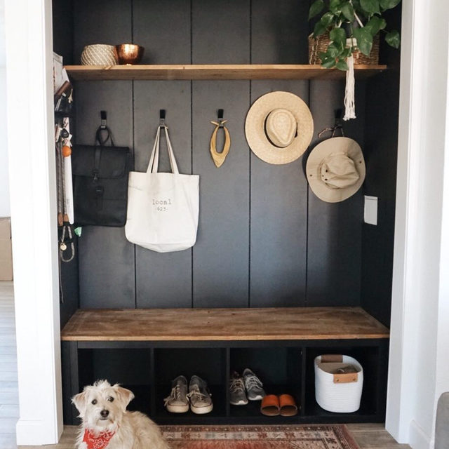 Inspo for turning that front hall closet into a chic entryway nook with functional storage 😍 (📷 submitted by @the.orange.home)