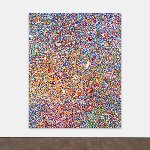 """#GagosianSpotlight: """"The first thing I did was paint all the canvases different colors. I have a selection of colors I love and use over and over again."""" —Damien Hirst  Gagosian is pleased to present """"Veil of Hidden Meaning"""" (2017–18) by Damien Hirst for $1,500,000, now available for forty-eight hours only. In this work, bright dots of heavy impasto cover the entire surface of the canvas in shifting, pulsing layers. Emblematic of the artist's """"Veil"""" series, this immersive abstraction continues the artist's examination of color and its effect on the eye, with a newly expressionistic, improvised effect. Color is given free reign—with exuberant, joyous results. Follow the link in our bio for more information or to make an inquiry. __________ #DamienHirst #Gagosian @damienhirst  Damien Hirst, """"Veil of Hidden Meaning,"""" 2017–18 © Damien Hirst and Science Ltd. All rights reserved, DACS 2020"""