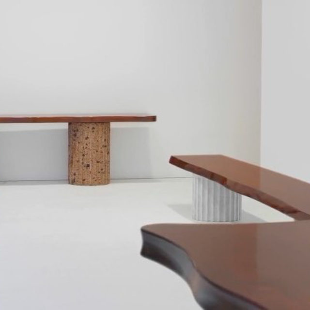 """#CasaMalaparte: New editions of furniture pieces from the legendary Casa Malaparte in Capri, Italy, are on view at Gagosian, Davies Street in London, through September 19.  For this special exhibition, Tommaso Rositani Suckert, Malaparte's youngest descendant, has produced editions of the key pieces of furniture that grace the house to this day. Manufactured in Italy, each piece comprises a simple, elegant solid walnut slab with supports in different materials. Also on view is a suite of Baroque-styled porcelain pieces formerly owned by Malaparte. Combining Malaparte's captivating designs with this personal effects, the exhibition pays homage to the life and spirit of one of the most complex and mysterious figures of the Italian avant-garde. Learn more via the link in our bio. _________ #Gagosian Installation video, """"Casa Malaparte: Furniture,"""" Gagosian, Davies Street, London, June 15–September 19, 2020. Artwork © Malaparte Design"""