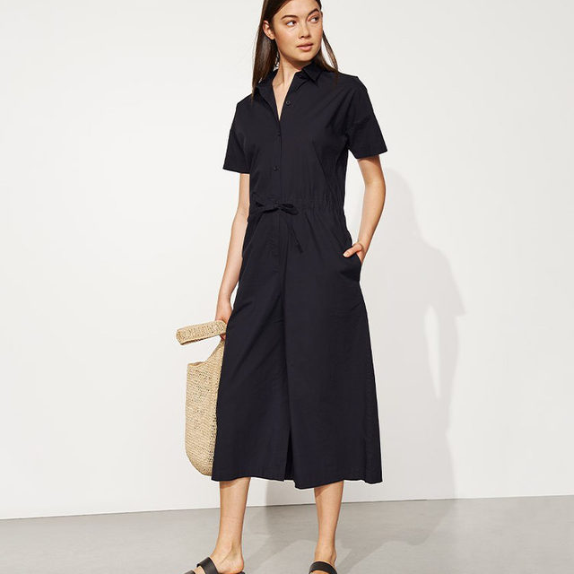 Our Organic Cotton Poplin Wide-Leg Jumpsuit, perfect for anytime, anywhere.