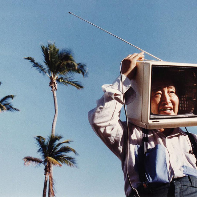 """""""I wanted to create high art with new materials. I wanted to work with the temporal element of the popular arts, the rhythm which is so important in video art."""" —Nam June Paik  Nam June Paik was born on this day, July 20, 1932, in Seoul.  In a piece for """"Gagosian Quarterly,"""" Alexander Wolf explores the intersection of life and technology as it exists in Paik's work, revealing the artist's ability to balance technological concerns with humanity through music, performance, expressive painting, and images from nature. Follow the link in our bio for more. _________ #Gagosian #GagosianQuarterly #NamJunePaik Nam June Paik in Miami, c. 1990. Photo: Brian Smith"""