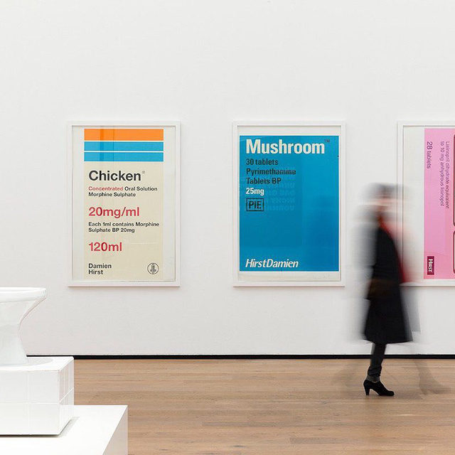"""Work by Urs Fischer, Damien Hirst, Cindy Sherman, Andy Warhol, and Tom Wesselmann features in """"Amuse-Bouche: The Taste of Art,"""" which closes at Basel's Museum Tinguely this Sunday, July 26.  This exhibition presents works—some with a participatory element—by more than forty-five international artists from the Baroque period to the present that explore taste as a dimension of aesthetic perception. Breaking with the usual museum practice of appealing primarily to the sense of sight, works in the exhibition offer art historical and phenomenological encounters with the sense of taste. Follow the link in our bio for more. _________ #Gagosian @museumtinguely Installation view, """"Amuse-Bouche: The Taste of Art,"""" Museum Tinguely, Basel, February 19–July 26, 2020. Artwork, left to right: © Opavivará!; © Damien Hirst and Science Ltd. All rights reserved, DACS 2020. Photo: Gina Folly © 2020 Museum Tinguely, Basel"""