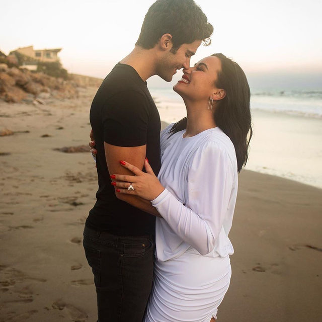 CONGRATULATIONS @ddlovato!! 💍 The singer announced her engagement to @maxehrich with a loving tribute. Link in bio to read. #regram ❤️❤️❤️