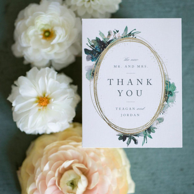 """Don't forget to give your thanks after the big day! #Linkinbio to shop wedding thank you cards to match your invitations.   __ """"Shimmer"""" thank you card by @loriwemple Photo: @allthelittlestoriesphotography via @hummingbirdwed  Florals: @leslieleefloraldesign . . . #thankyou #weddingthankyou #thankyoucards #weddingstationery #weddinginvites #savethedate #weddinginvitation #weddingflatlay #flatlay #invitationdesign #modernwedding #engaged #weddingideas #weddinginspiration #weddingdetails #weddingphotography #weddingplanning #weddingflatlay #weddingseason #engagementseason #weddingplanner"""
