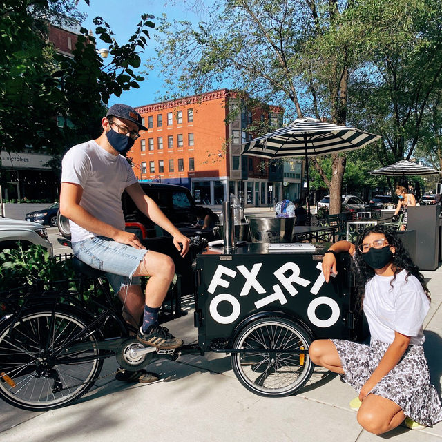 What has 3 wheels, serves @hellioncoldbrew and Strawberry Lavender Lemonade on tap, and can fly*? It's our new bicycle coffee cart! Catch us riding around town on weekdays, or parked at our Wicker Park and Southport stores on weekends. *it can't actually fly