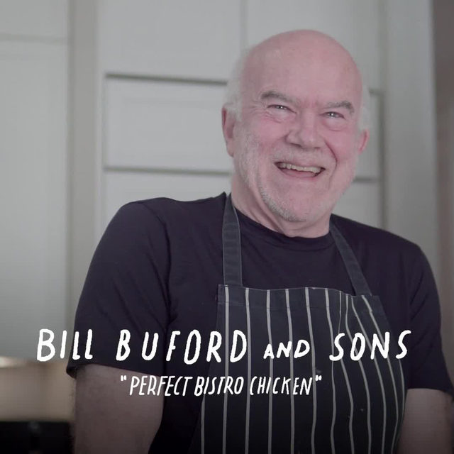 """For me, the best roasted bird is scarcely roasted at all,"" Bill Buford writes. ""It is poached until it is almost cooked through, and finished, as fleetingly as possible, in a hot oven or on a rotisserie, if you're lucky enough to have one."" At the link in our bio, watch Buford demonstrate, with the help of his sons, a perfect poached-and-roasted chicken. Plus, get his recipe to try it yourself."