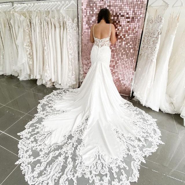 STUNNER! 😍✨ Sinead, Style 2121 featuring a sultry satin silhouette and incredible cut away train! ✨ . . . @madelinegardner #madelinegardner #morileebride #designerweddingdresses #weddingdesigner #bridal #bridalgown #instawed #weddingseason #realweddings #weddedbliss #weddingshoot #bride2019 #realbride #sayyestothedress #isaidyes #bride2be #pride #love #bridalgowns #bridalgown #modernbride #classicbride #dresscometrue #2020wedding #romantic #brides