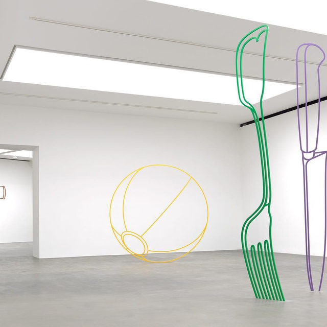 """Join Gagosian on Thursday, July 30, at 12pm EDT for """"In Focus,"""" a trio of online presentations delving into the work of three sculptors. Michael Craig-Martin will speak about his own sculptural practice, Pepi Marchetti Franchi will speak about Giuseppe Penone, and Max Teicher will discuss the work of Man Ray.   Register now to learn more about the ways these three artists approach three-dimensional form and its potential to change the way we engage with the world. Follow the link in our bio. _________ #MichaelCraigMartin #ManRay #GiuseppePenone #Gagosian Michael Craig-Martin, """"Sculpture,"""" Gagosian, Britannia Street, London, May 31—August 3, 2019. Artwork © Michael Craig-Martin. Photo: Mike Bruce"""