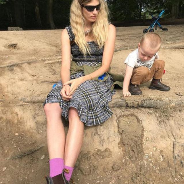 🌾🌾@veronikaheilbrunner wears  our new in seersucker dress  #GANNI #GANNIGirls