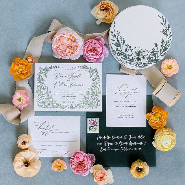 """A custom miniature cake hand-painted to match your invitation suite? This takes the cake for ultimate flat-lay prop!  #Linkinbio to shop the invitation RSVP card and reception card!  __ """"Eden"""" wedding invitation by @graesales """"Sonnet"""" RSVP and reception cards by @robinottdesign Photo: @jameswitty @jessfairchild via Planner + Florals: @tylerspeier  Cake: @lilacpatisserie . . . #weddinginvites #savethedate #weddinginvitation #weddingflatlay #flatlay #invitationdesign #modernwedding #engaged #weddingideas #weddinginspiration #weddingdetails #weddingphotography #weddingplanning  #trendybride #weddingstationary #luxurywedding #destinationwedding #destinationweddingplanner #weddingcake #weddingcakeideas"""