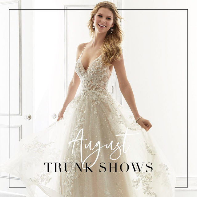 Say yes to your dream dress at one of our upcoming #August trunkshows! ✨ . . . #sayyes #morilee @madelinegardner #dresscometrue #weddingdress #dreamdress #bridetobe #events #trunkshow #bridalgown #dressshopping #shesaidyes