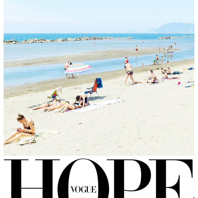 "As all of Vogue's global editions unite around the theme of hope, 26 editors-in-chiefs share an image from their new print issue and tell us why it gives them hope for the future. Vogue Italia's Editor-in-Chief Emanuele Farneti @efarneti chose an image by @_MassimoVitali_, ""Capannina Bianca June 2nd (2020)"". ""This picture was taken at Marina di Massa in Tuscany, on June 2nd (an Italian national holiday - Republic Day, ""Festa della Repubblica""). Italy, with it's 7.500 km (4,660 mi) coastline, seems to be the perfect place to be when the summer blossoms and the sun is warm. This year, though, it wasn't business as usual: the country was just timidly opening up after three months of lockdown, pain and uncertainty. As people started to slowly go back to their habits, populating the beaches although maintaining social distancing, we can already catch a glimpse of the carefree, happy attitude that has always characterized the Italian way of life. Massimo Vitali's entire work spurs from a deep curiosity and empathy"