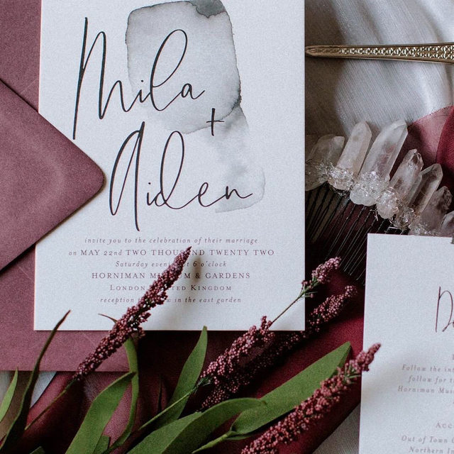 "Dusty rose and crystal details✨  #Linkinbio to shop the wedding invite!  __ ""Moxie"" wedding invitation by @designlotus Photo: @blacksaltphotos"
