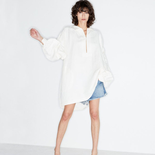 Summertime edit. #Raey smock dress and Tahiti denim shorts. Available exclusively @MATCHESFASHION #MATCHESFASHION.