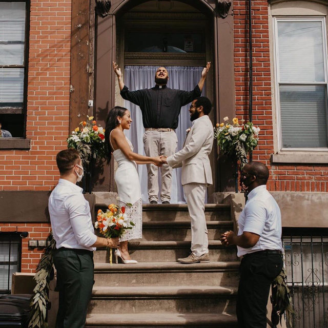 "Always look on the bright side! 💕 ""With no scheduling limitations, we were able to choose the date we'd always wanted—the anniversary of the day we started dating."" Congrats to Ruani and Cortney on their perfect little stoop wedding! 🥂 // #regram: @hobokengirl 📸: @milesquaremoments 👰🏽: @ru.dot"