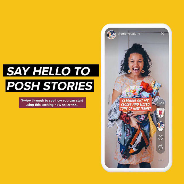 Have you tried Posh Stories yet?🌟 Exciting news, everyone has access now! Scroll down on the Feed in-app to check it out. With this feature you'll now be able to level up your Poshmark selling with this new tool that introduces video on Poshmark. You'll be able to:  📲Bring Your Listings to Life: Showcase and sell your listings in short videos and photos that disappear in 48 hours.   📲Make Your Stories Shoppable: Tag your listings to make it easy for shoppers to discover your items right from Stories.   📲Connect with Your Community: Support and connect with other Poshers by liking and sharing their Stories!  Start creating your Posh Stories now! Want to learn even more? Tap our link in bio for a how-to guide.