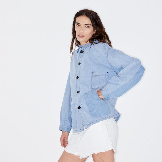 Double denim. #Raey Patch-pocket denim jacket and Tahiti denim shorts. Available exclusively at @MATCHESFASHION #MATCHESFASHION.
