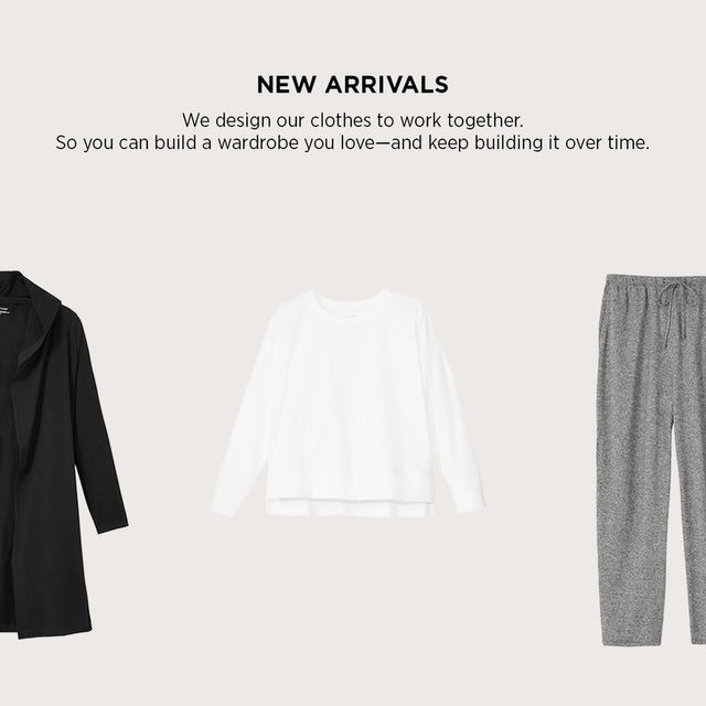 New arrivals are here. Simple shapes, in the fabrics we want to wear right now. Head to the link in our bio to shop the latest.