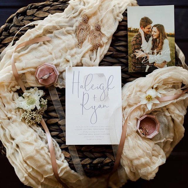 "It's all in the details 💍  __ ""Moxie"" wedding invitation by @designlotus ""Elegant Lines"" save the date by @makar0sh_art Photo: @ralucarophoto via @haleigh_mccain  Florals: @mainstreetblooms_buford  Earrings: @bhldn . . . #weddinginvite #weddingstationery #wedding #weddinginspo #weddingphotography #weddingstationeryideas #weddingflatlay #flatlay #engaged #weddingideas #weddinginspiration #weddingdetails #engaged #invitations #weddingplanning #savethedate #mintedweddings #changethedate"