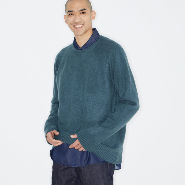Tonal layering. #Raey oversized sweater, chest-pocket shirt and raw selvedge jeans. Shop the look now at @MATCHES_MAN.