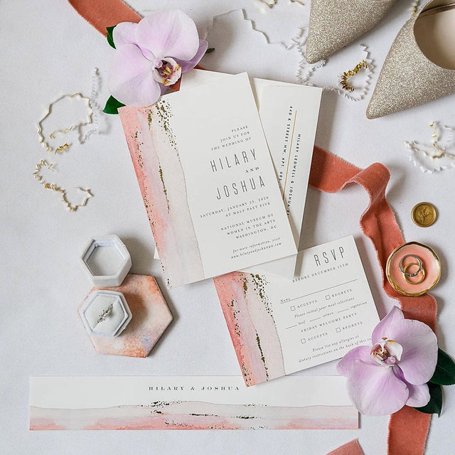 """Pretty with pastels plus a pinch of gold ✨  #linkinbio to shop the suite!  __ """"Painted Desert"""" foil-pressed wedding invitation suite by @hooraycreative Photo: @roephoto  Floral: @helenoliviaflowers . . . #weddinginvites #savethedate #weddinginvitation #weddingflatlay #flatlay #invitationdesign #modernwedding #engaged #weddingideas #weddinginspiration #weddingdetails #weddingphotography #weddingplanning #trendybride #weddingstationary #luxurywedding"""