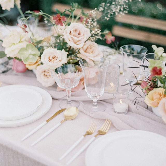 A lovely little moment with our #dupioniqueiridescencelinen in Blush and #auroralinen Table Runner in Mauve 🌸✨🌾 Sometimes a soft color palette is just the thing 💕 Design @thegracefulhost Florals @springvine Photography @allisonkuhncreative  #latavolalinen #transformyouratble #pink #prettyinpink #pinkandmauve #blush #blushwedding #tablerunner #nola #nolawedding #weddingdesign #weddingdecor #weddingrentals #softcolors