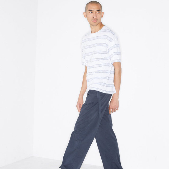 Simple stripes. #Raey relaxed-fit T-shirt and wide-leg cotton chino trousers. Available exclusively at @MATCHES_MAN.