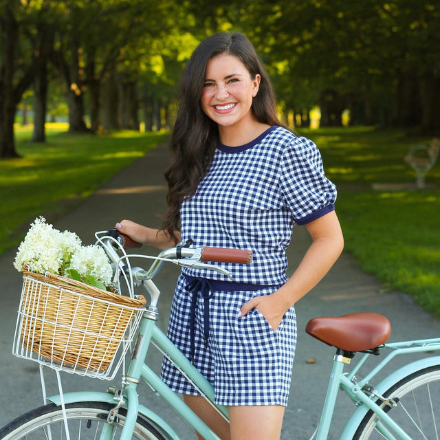 Our best-selling Gingham Sweatshirt, translated as a short-sleeve-top-and-shorts set. Indoor cozy, outdoor cute 🚲✨ #draperjamesathome #djlovesgingham
