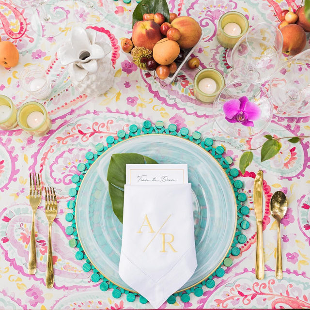 Just a little slice of summer to brighten your day ☀️ With our #watercolorslinen in Orchid and bbjlinen Turquoise Beaded Placemat and Alabaster Milk Chargers From amychampagneevents and cwfloraldesign 📷 tbmphotos  #latavolalinen #transformyourtable #onthetable #tabletop #summercolors #summerparty #tablefortwo #brightcolors #livecolofrully #fruitonthetable #connecticut #westport #bbjlt #bettertogetherbbjlt