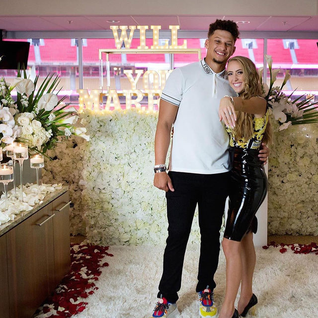 """On a day that was meant to celebrate you, you turned it into celebrating us."" ❤️ NFL Quarterback @patrickmahomes proposed to his high school sweetheart, Brittany Matthews, at his Superbowl ring ceremony and if that's not the sweetest thing you've ever heard...just wait until you hear the rest at the #linkinbio. 💍😭 // #regram: @brittanylynne 📸: @melissaandbethphotography"