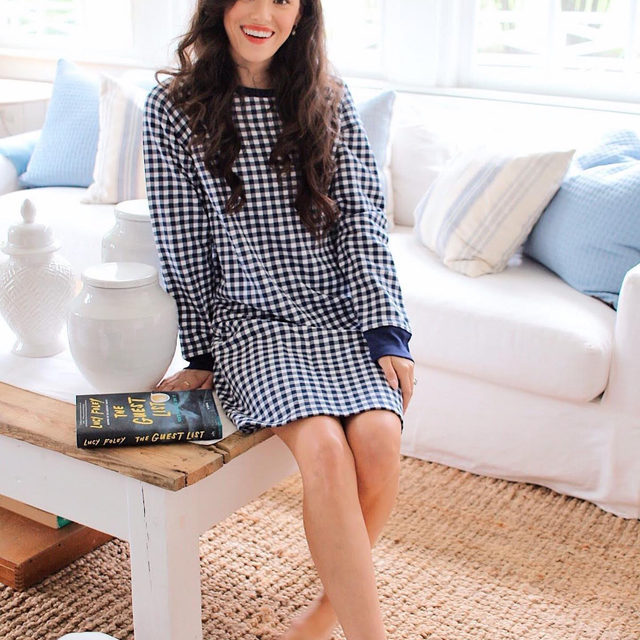 Throw on a pair of earrings for a Zoom call or curl up on the couch with a good book: Our Gingham Sweatshirt Dress delivers loungey comfort with conference call polish 🍂🌻🍁  #draperjamesathome #djlovesgingham