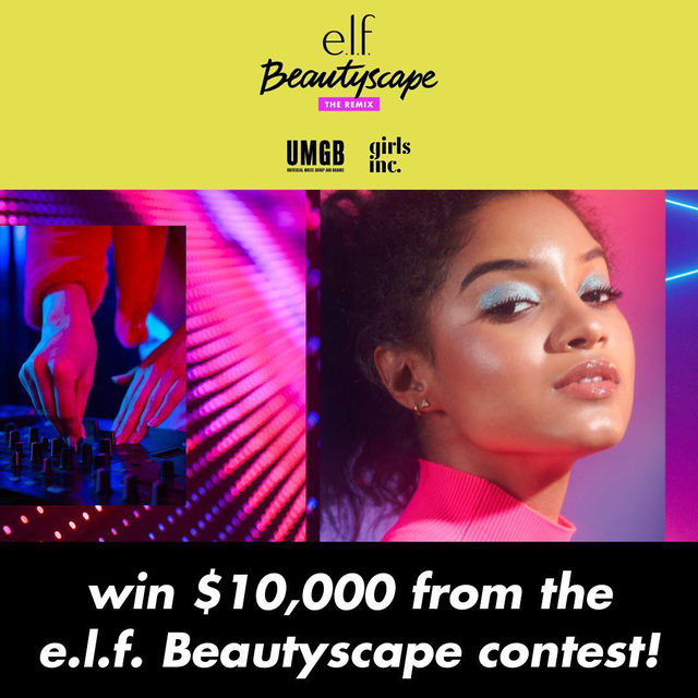Are you ready to win $10,000?! 🤑We're remixing Beautyscape this year with umgbgram! GET READY for makeup and music artistry to collide! 🎶⚡🎧💄  ENTER FOR THE CHANCE OF A LIFETIME: 🎤Co-create el.f.'s next big beauty collection with music artists from umgbgram (WE WILL BE ANNOUNCING THE ARTISTS SOON-STAY TUNED) 🎤See your collection sold at a top e.l.f. retailer next summer 🎤Win a $10,000 cash prize 🎤Give girlsinc alumni the chance to create alongside you and the Universal Music Group and Brands artists!  HOW TO ENTER: Step 1: Create a full-face look inspired by your favorite music genre, whether it's the upbeat electric pulse of Pop or the smooth sounds of R&B. Whatever your beat- anything goes! Step 2: Post your look to your Instagram feed Step 3: Tag and follow elfcosmetics and use the hashtag #BeautyscapeRemixContest  UNLIMITED ENTRIES WELCOME by 9/18! #eyeslipsface #elfingamazing #elfcosmetics #crueltyfree #vegan