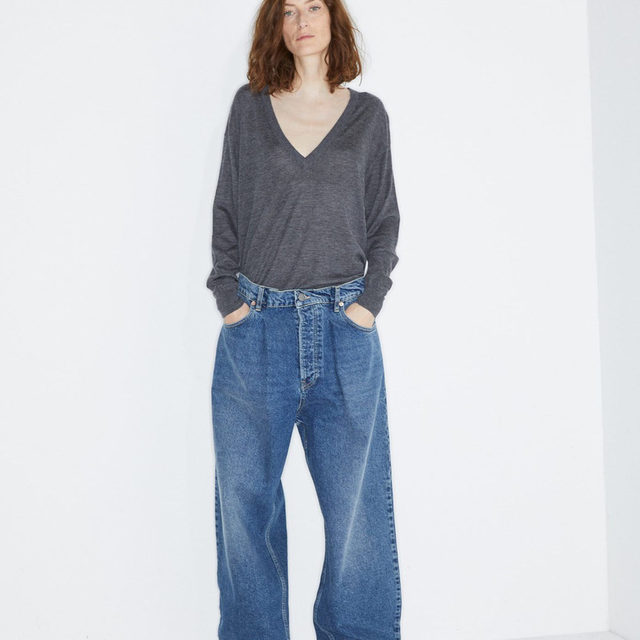 Relaxed. #Raey V-neck sweater and Fold boyfriend jeans. Available exclusively at @MATCHESFASHION #MATCHESFASHION.