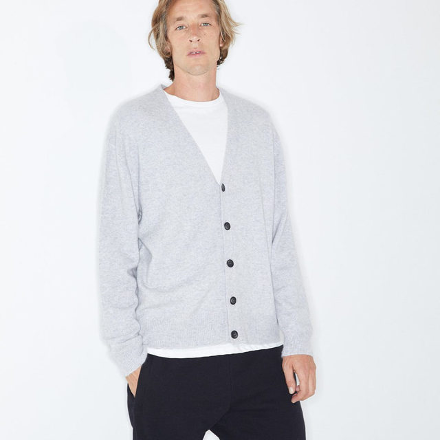 Buttoned up. #Raey cashmere cardigan, relaxed-fit T-shirt and raw selvedge jeans. Available exclusively at @MATCHES_MAN.