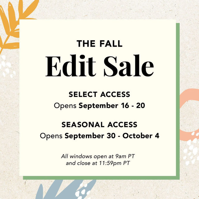 📆 MARK YOUR CALENDARS 📆 The Edit Sale opens on Wednesday, Sep. 16 for Select Members. Shop for your favorite brands and products, all discounted up to 70%! To upgrade your account for early access to the sale, head to the link in our bio 💛