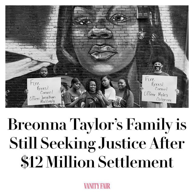 "Louisville city officials have agreed to pay a $12 million dollar settlement to Breonna Taylor's family while also promising police reforms—but her family still wants charges against the officers responsible for her death. ""As significant as today is, it's only the beginning of getting full justice for Breonna,"" Breonna's mother Tamika Palmer said. ""We must not lose focus on what the real drive is and with that being said, it's time to move forward with the criminal charges because she deserves that and much more."" Read the full story at the link in bio. Photograph by LaToya Ruby Frazier."