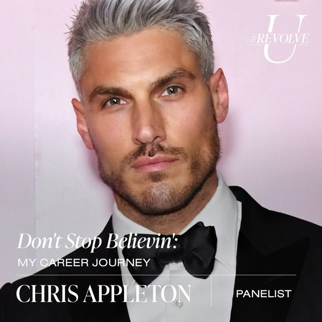 """get to know our #REVOLVEU panelist for Don't Stop Believin': My Career Journey!  @chrisappleton1 is a British-born celeb hair stylist whose impressive client roster includes everyone from @kimkardashian to @arianagrande. @grazia_magazin called him """"the man who is redefining Hollywood glam,"""" and it's clear why—his editorial work has been showcased in iconic magazines, from @voguemagazine to @vanityfair, he tours the world sharing his top techniques and styling secrets, and in 2019 he was given the prestigious Intercoiffure Celebrity Stylist of the Year award. As global creative director for @colorwowhair, Appleton acts as a brand ambassador and educator while constantly sparking new global beauty trends, most recently styling @jlo's stunning Super Bowl LIV halftime performance look.  tune in to the Don't Stop Believin': My Career Journey panel on Mon 9.21 @ 12PM PST ❤️ LIVE on our YouTube - youtube.com/revolve  use our link in bio for more info, dates & times! ✨#REVOLVEU"""