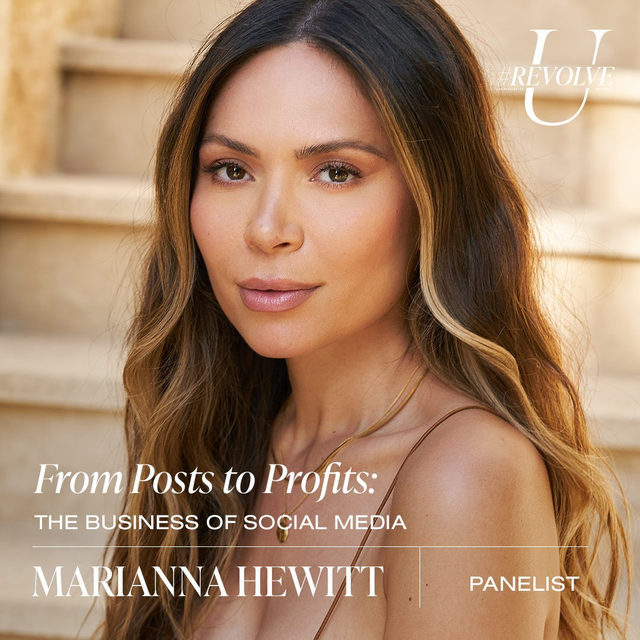 Content creator and entrepreneur, @marianna_hewitt, was one of the first to step into the blogging scene back in 2012. The self-confessed beauty fanatic has evolved into a leading voice in social media and named @wwd Beauty Inc.'s Influencer of the Year. Hewitt quickly rose to boss status when she co-founded @summerfridays, the clean beauty brand whose iconic Jet Lag Mask became an instant best-seller. Hewitt continues to share her favorite products, personal style, and travel adventures through her namesake YouTube channel, her blog, Life with Me, and of course, her perfectly curated IG.   tune in to the From Posts to Profits: The Business of Social Media panel on Tues 9.22 @ 3PM PST ❤️ LIVE on our YouTube - youtube.com/revolve  use our link in bio for more info, dates & times! ✨#REVOLVEU